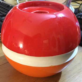 Modern red and orange glazed ceramic candle holder