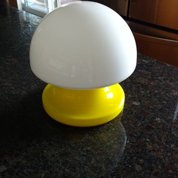 Yellow glass mushroom lamp