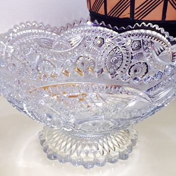 Vintage Imperial Glass Punch Bowl & Cups In Long Hobstar Pattern