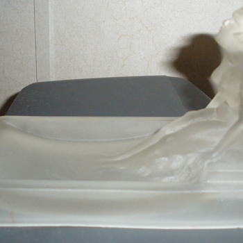 Frosted Satin Glass Nude Lady Soap Dish - Art Deco