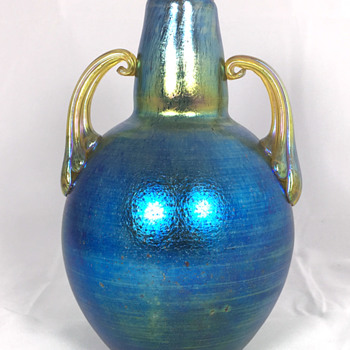 "Loetz Cobalt ""Norma"" Vase with Handles. 8"" Tall. Oval Mark. Circa 1918+"