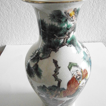 Antique Japanese Pottery Beaded Vase