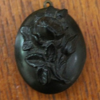 Gutta Percha Vulcanite Victorian Mourning Locket - Fine Jewelry