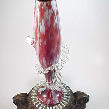 Antonin Rückl & Sons Bohemian Glass Vase - Red with Oxblood Red & White Spatter Glass Decor - Rim Detail - Art Glass