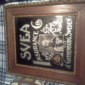 1800's reverse glass advertising svea insurance from Sweden sign - Advertising