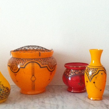 Enamelled tango vases - Novy Bor - Art Glass
