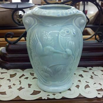 sky blue vase - Art Pottery