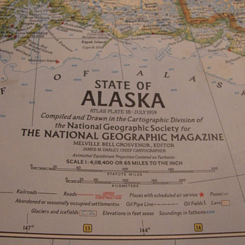 July 1959 National Geographic Alaska Map - Paper