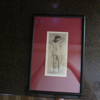 Clyde Singer  -  Signed  -  Standing Nude #8  -  Framed and Matted - Posters and Prints
