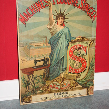 Singer sewing machine cardboard sign advertising statue of liberty - Advertising