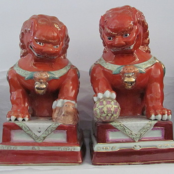 Orange Foo Dogs Pair