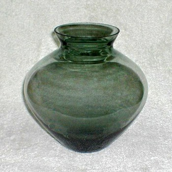 Smoky Green Glass Vase