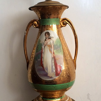 Austrian Amphora Lady Enamelled Porcelain Brass Mounted Lamp HELP!