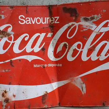 Coca Cola Sign French (approx 5ft L & 3 ft H) Tin - Coca-Cola