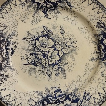 Antique French K&G Luneville Floral Flow Blue Plate Elegantine Rose Pattern - China and Dinnerware