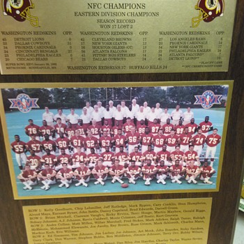 WASHINGTON REDSKINS SUPER BOWL CHAMPIONSHIP PLAQUE