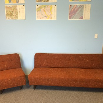 mid century armless tweed sleeper sofa and chair set
