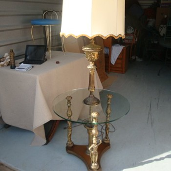 vintage brass lamp with glass table - Lamps