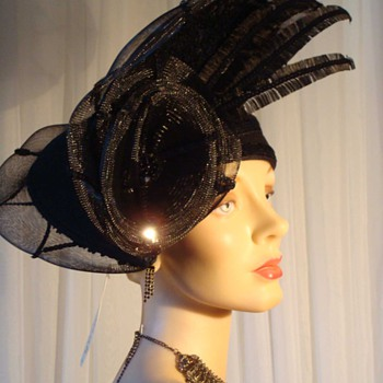 Incredible Deborah of New York Hat - Black Wool with Crin and Sequins - Hats