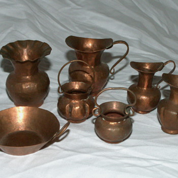 Vintage Minature Copper Pots & Pan Set