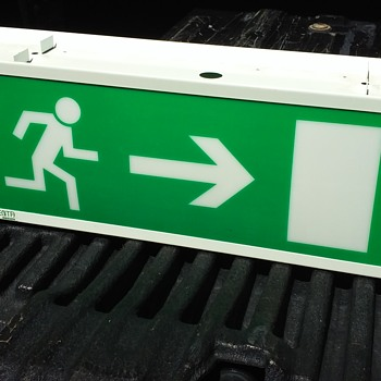 european lighted EXIT sign  - Lamps
