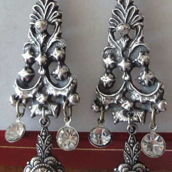 Fabulous Pair of Georgian Silver Spanish Paste earrings circa 1800's.
