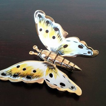Vintage Coro Sterling with Gold Vermeil Butterfly Brooch - Costume Jewelry
