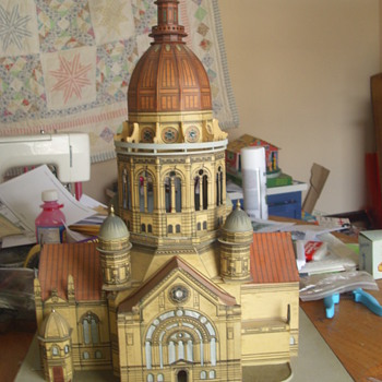 Litho & wood Cathedral model from the 1900's?