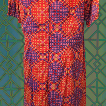 Sensationally Psychedelic Sixties Nylon Dress - Womens Clothing