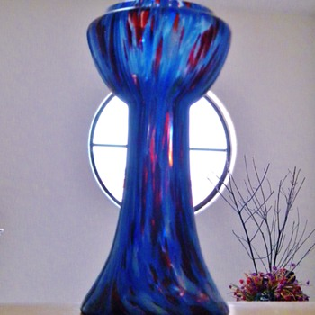 Antique Kralik Blue Red White Spatter Vase Bohemian Czech  - Art Glass
