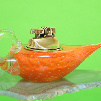 Vintage MURANO ART GLASS ARCHIMEDE SEGUSO Bulicante, Sommerso & Avventurina (w/Gold Flecks) FLAME ORANGE LADDIN TABLE LIGHTER
