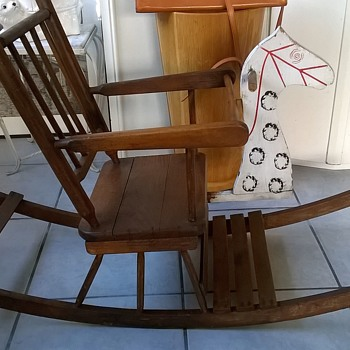 Part II - My 76 Cent Child's Vintage Wooden Rocking Horse Chair - Furniture