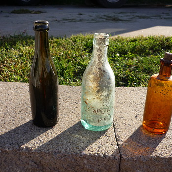 Green, Clear, and Brown-(with cork) bottles - Bottles