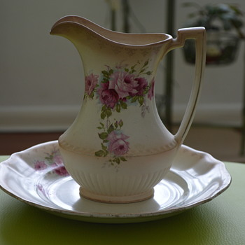 Blush ivory jug and plate - Art Pottery