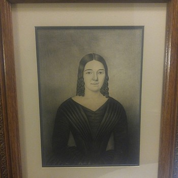 Antique Charcoal Portrait - Visual Art
