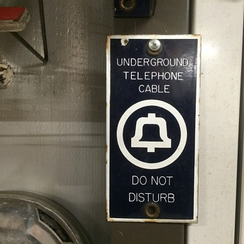 Porcelain Underground Telephone Cable Do not Disturb sign - Telephones