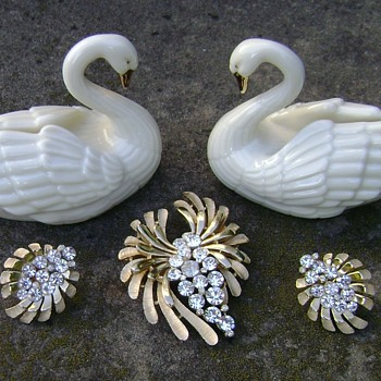 Trifari Brooch and Earrings - Costume Jewelry