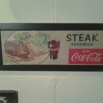 Steak Sandwich With Coca Cola Litho Sign