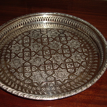 Round footed silver tray - Silver