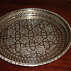 Round footed silver tray