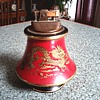 Beautiful Italian Florentine Ceramic Table Lighter /Red with Gilt Chinese Dragon Design/Circa 1950