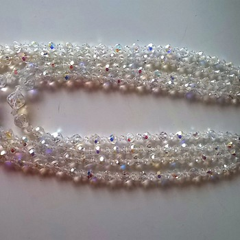 1960s Four Strand Austrian Crystal Aurora Borealis Crystal Necklace Thrift Shop Find -Cheap!