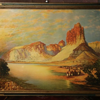 Gathering on the Green River by Thomas Moran - Antique Framed Print - Posters and Prints