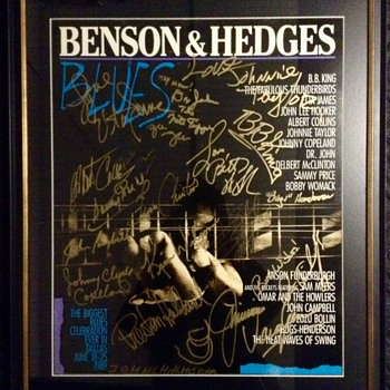1989 BENSON & HEDGES Autographed Blues Concert Poster - Posters and Prints