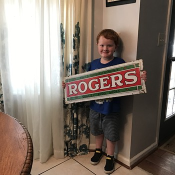 1930's ROGERS grocery store sign. - Signs