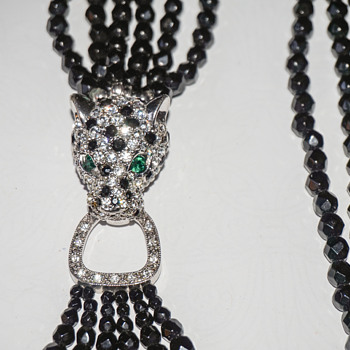 Vintage K.J.L. Kenneth J Lane Black Faceted Glass Bead Torsade Necklace Rhinestone Leopard Head Clasp - Costume Jewelry
