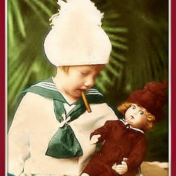 Vintage  Photo Of what I believe is a Lenci Smoking doll .