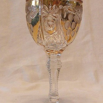 Pair of Wine Goblets Gold Gilt and Etched Glass Who Are We?