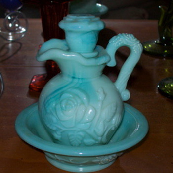 Milk Glass?? green Avon pitcher and saucer - Glassware