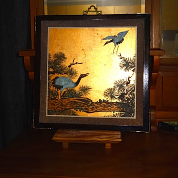 Asian Hand Painted Cranes on Gold Background